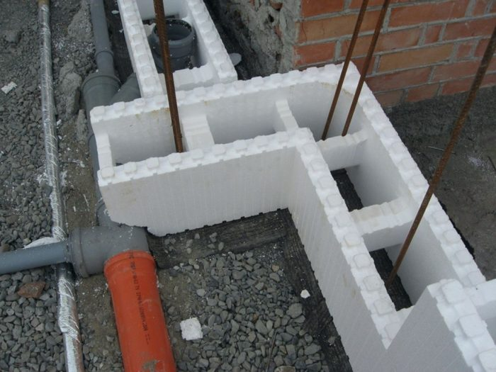 Пример несъемной опалубки для фундамента дома
