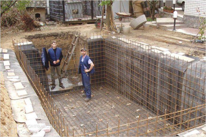 Готовая к заливке конструкция бассейна