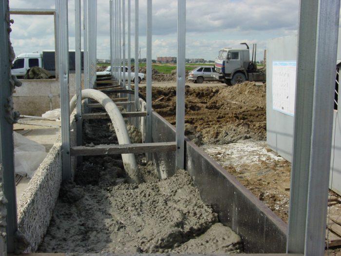 Заливка бетона в готовую опалубку