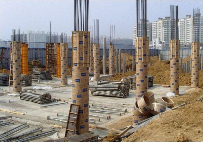 Пример несъемной опалубки для колонн